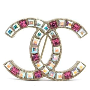 Baguette Multi Color Cc Clear Crystals Brooch Pin